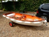 10ft / 3 metre Fibreglass Dinghy with combination launching / road trailer