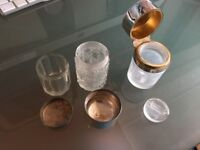 Glass scent bottles with hallmarked silver lids