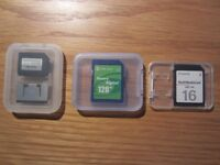 3 x Memory Cards - 128, 64 and 16 MB