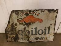 Vintage Mobiloil Original Rare Enamel Garage Sign Automobilia Mobil Oil Metal Wall Sign