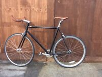 Vintage single speed city bike with leather detailing, Excellent condition