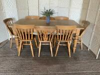 Large 6x3ft vintage pine farmhouse dining table and 8 chairs