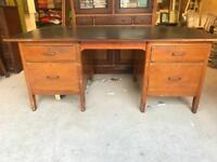 Large Old Lawyers Wooden Desk Filing Drawers