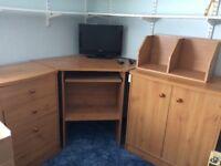Home office desk 3 piece corner unit. Corner computer desk, set of 3 drawers & cupboard