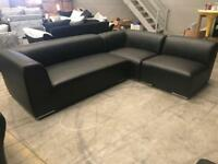 Brand new black leather corner sofa