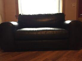 3&2 seater black leather sofa