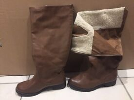 WOMENS SIZE 4 BOOTS BROWN NEW LOOK KNEE LENGTH