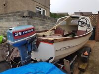 15' GRP Boat, good trailer, and 35hp Evinrude outboard