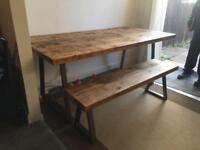 Industrial table bench and 4 chairs