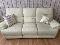 Almost new leather recliner sofa ( beige 3+2)