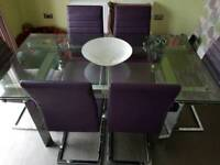 Extending Glass Dining Table With 6 Chairs