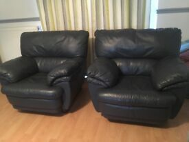 2 x blue leather chairs