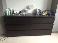Malm ikea 6 drawer chest of drawers - black/brown