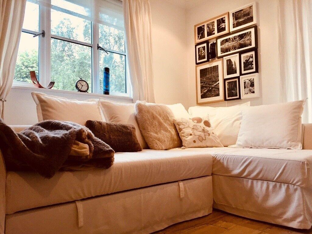 Ikea Holmsund White Corner Sofa Bed Excellent Condition