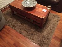 Solid mango wood coffee table & side table