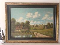Huge Vintage Oil Painting English Landscape Ebony & Gilt Frame Signed (Touch/click pics to enlarge)