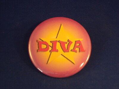 """""""DIVA"""" BUTTON pin pinback 2 1/4"""" badge NEW! large punk  GIRL WOMEN SINGER  BIG!"""