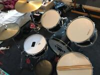 *URGENT! IN SWANSEA, NOT BARRY* Gear4Music Acoustic 5 Piece Drum Kit - BLACK - used condition