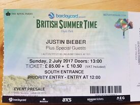 Justin Bieber tickets Hyde Park Sunday 2nd July Priority Entrance £100 EACH (6)