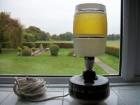 Vintage 60s Lamp, with glass shade and brown and white decorated ceramic base