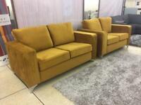 Versailles Plush mustard velvet 3 plus 2 seater sofa set