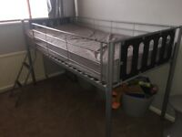 Grey metal mid sleeper cabin bed, with or without mattress