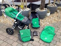 Bugaboo Cameleon pushchair, carrycot, cosy toes, change bag, car seat adapters, maintenance kit