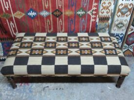Large bespoke coffee table footstool upholstered in handmade kilim made on antique legs