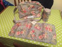 Cath Kidson changing bag, mat and bottle holder