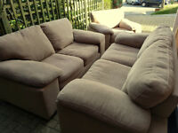 HARVEYS 3+2 SEATER SOFA & ARMCHAIR BEIGE. Delivery is possible