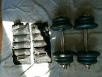 19.5kg cast iron dumbbell weights set & 2 x 1.5kg ankle weights