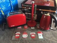 Kitchen appliance set red microwave kettle toaster etc