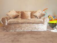 2 + 3 seater champagne crushed velvet sofas