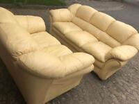 2 and 3 Seater Yellow Leather Sofa