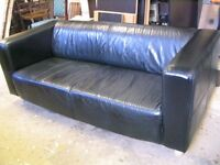 black 2 - seat real leather sofa, solid wooden legs, comfy couch, quality settee, lounge, sofa IKEA