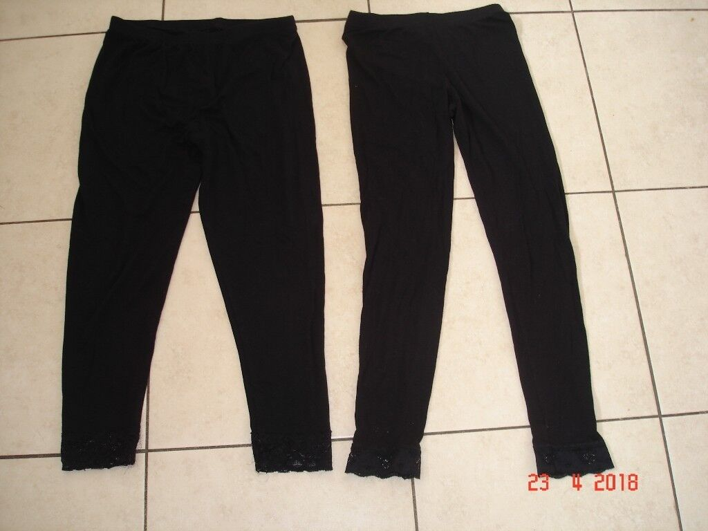 Two Leggingsin Cambridge, Cambridgeshire - Two pairs of Girls Leggings in black. Has lace round the bottoms. One pair size 8 and the other size 10. Excellent condition. £1 for the two