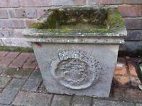 Square stone garden pot