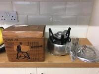 Vintage unused boxed fondue set stainless steel