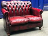 Immaculate🎉genuine leather chesterfield THOMAS LLOYD 2 seater wingback sofa Queen Anne conservatory