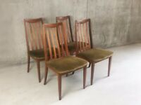 Set of 4 1970's mid century modern G Plan Fresco range dining chairs
