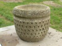 Vintage Well Weathered Cast Stone Lattice Detail Garden Planter – Pot 29½cm tall (1075)