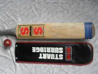 STUART SURRIDGE VINTAGE ORIGINAL JUMBO CRICKET BAT WITH SUPER COVER, UNIQUE TOE REINFORCEMENT & BALL
