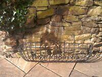 Large black metal wall mounting planter basket