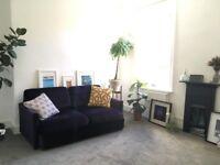 Reupholstered Habitat Sofa in Purple Velvet (easily returned to original grey if desired)