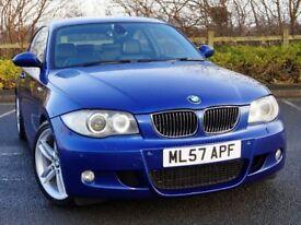 2007 BMW 130I M SPORT AUTO ***FBMWSH+SAT NAV+XENONS+M/SEATS*** *** 1 3 series 135i golf r r32 gti s3