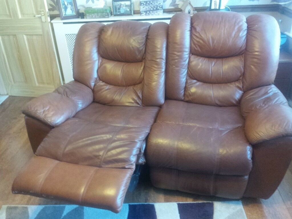 3 Piece Leather Suite Double Reclining Sofa And Two Rocking Armchairs