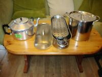 Canteen/Large Family ware: 5L Teapot ,10L Stainless Pan, And, Stainless Fish Kettle.
