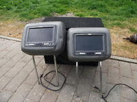 """Pair of SAVV 7"""" wide TFT LCD headrest screens mounted in BMW M3 leather headrests"""