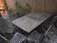 Collapsible wooden garden table and 6 chairs