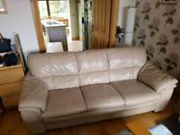 3 seater sofa in a thick grade of cream leather Hyde
